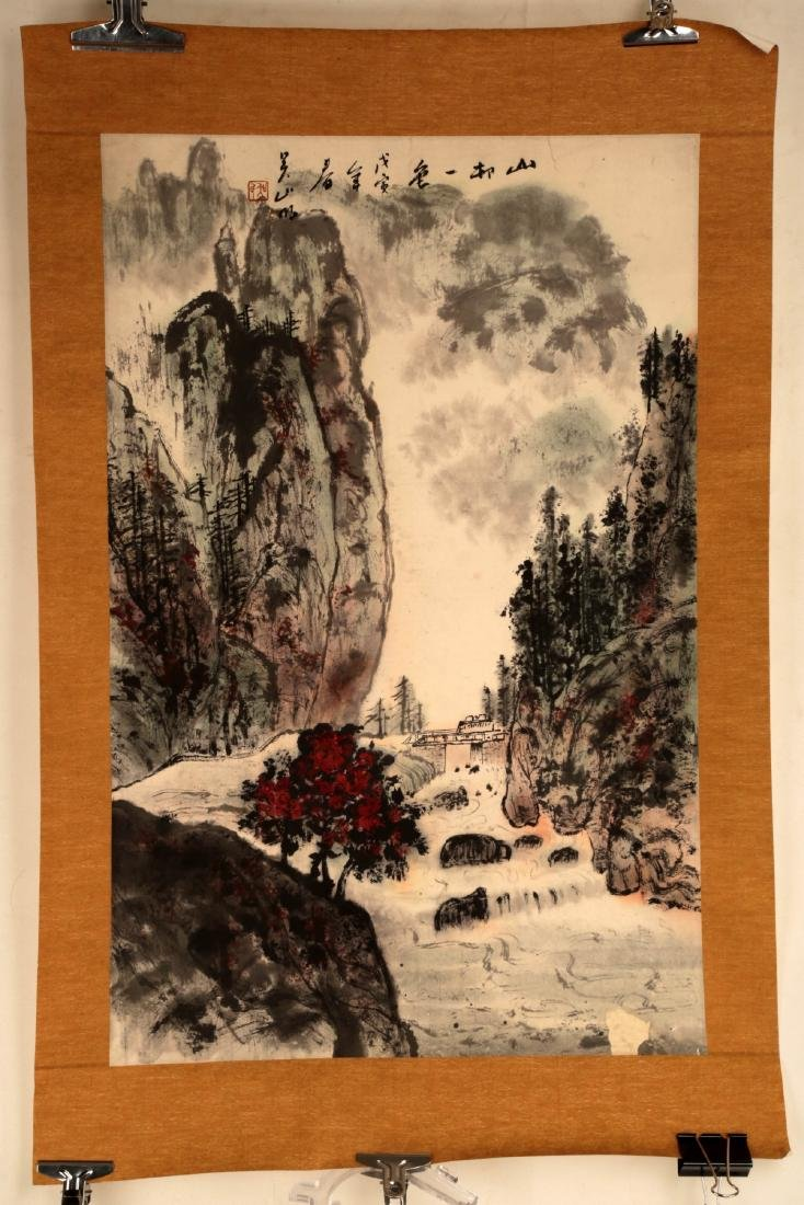 CHINESE INK AND COLOR ON PAPER HANGING SCROLL