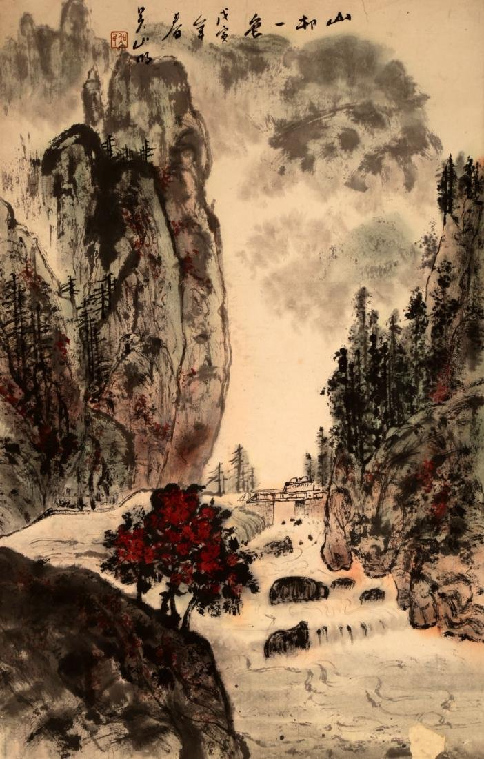 CHINESE INK AND COLOR ON PAPER HANGING SCROLL - 2