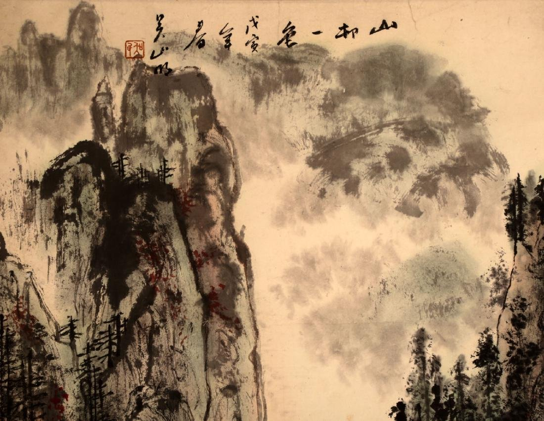 CHINESE INK AND COLOR ON PAPER HANGING SCROLL - 3
