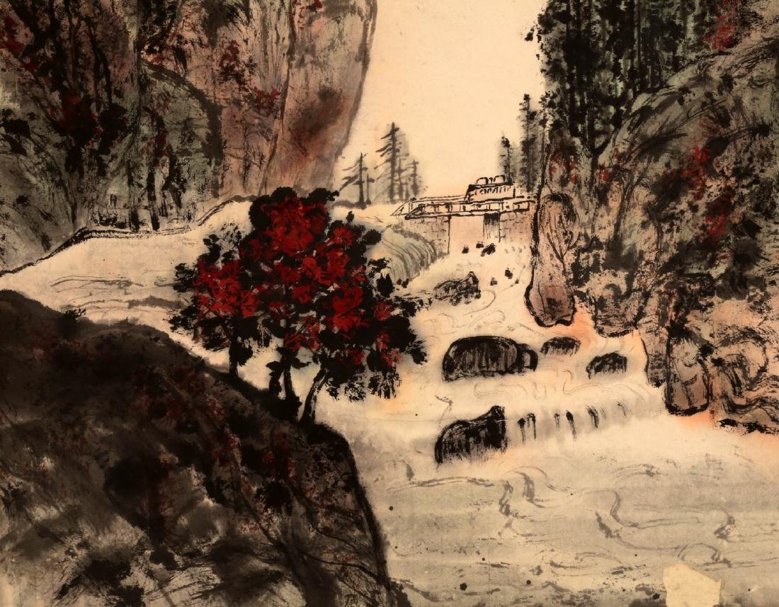CHINESE INK AND COLOR ON PAPER HANGING SCROLL - 4