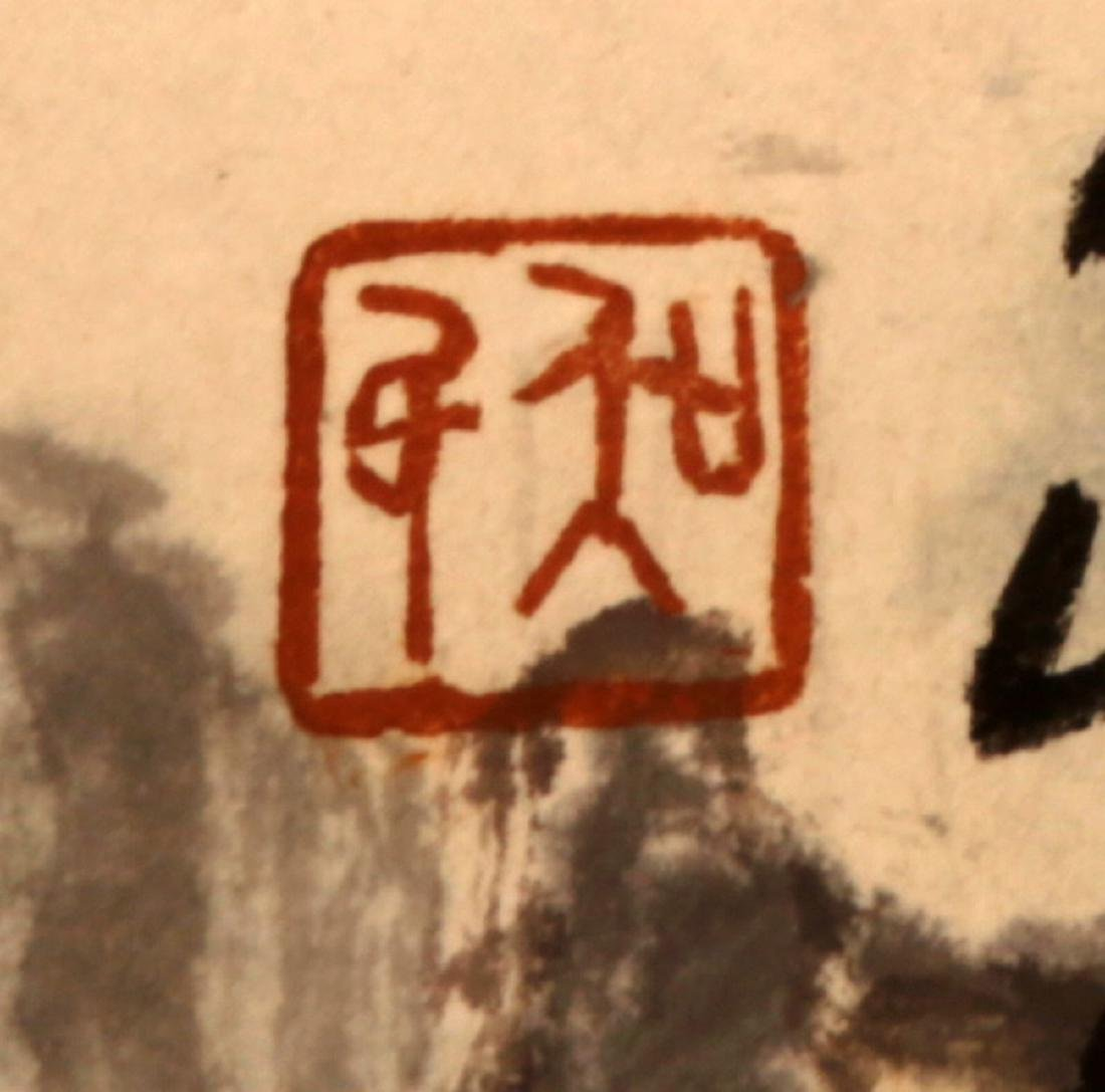 CHINESE INK AND COLOR ON PAPER HANGING SCROLL - 5