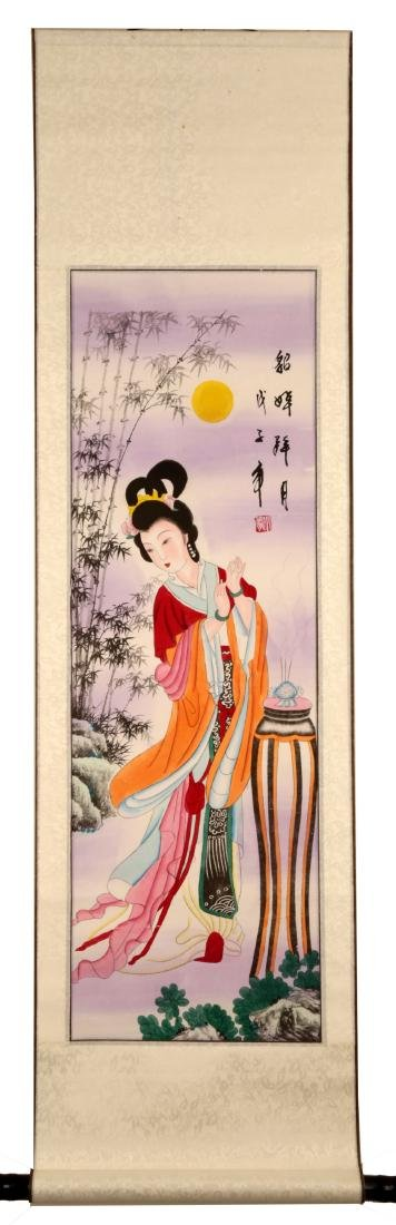 CHINESE INK ON PAPER HANGING SCROLL PAINTING,WITH TWO