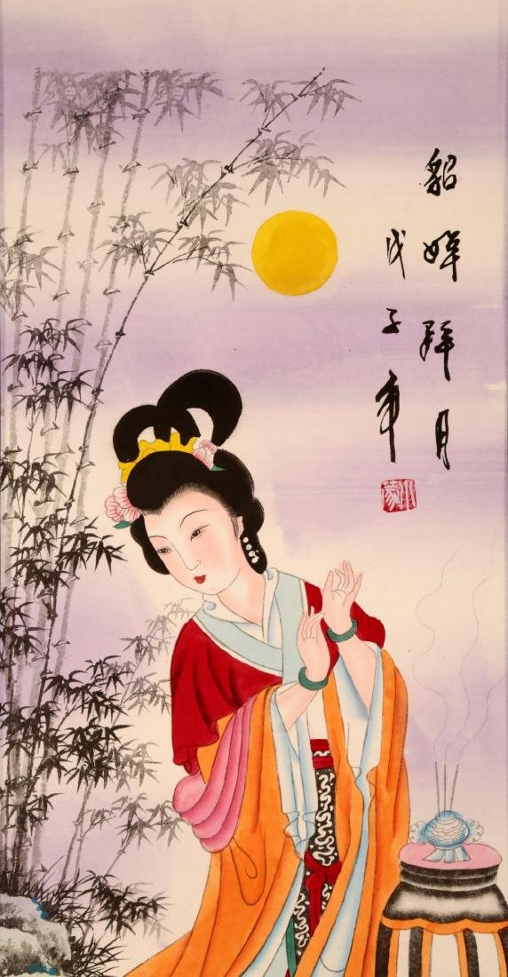CHINESE INK ON PAPER HANGING SCROLL PAINTING,WITH TWO - 3