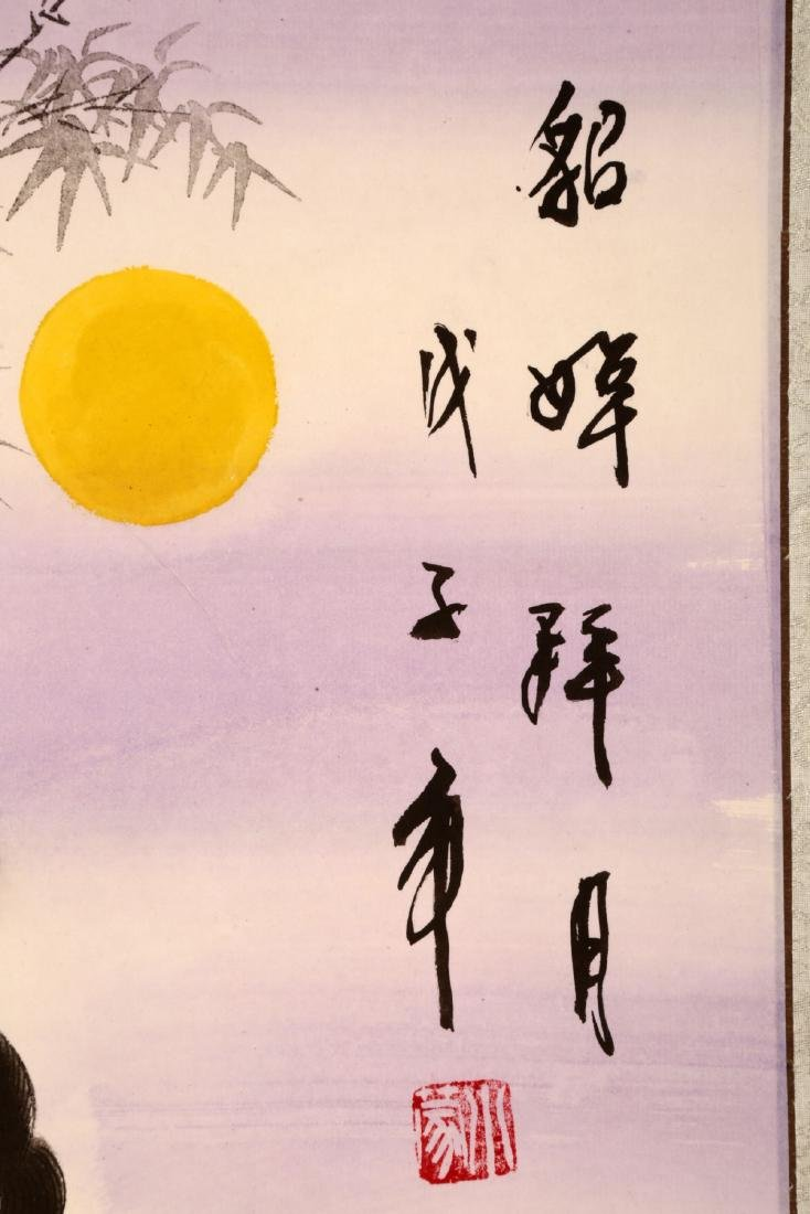 CHINESE INK ON PAPER HANGING SCROLL PAINTING,WITH TWO - 6