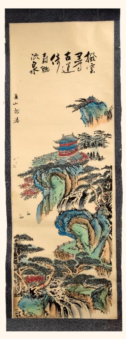 CHINESE INK AND COLOR ON PAPER HANGING SCROLL PAINTING.