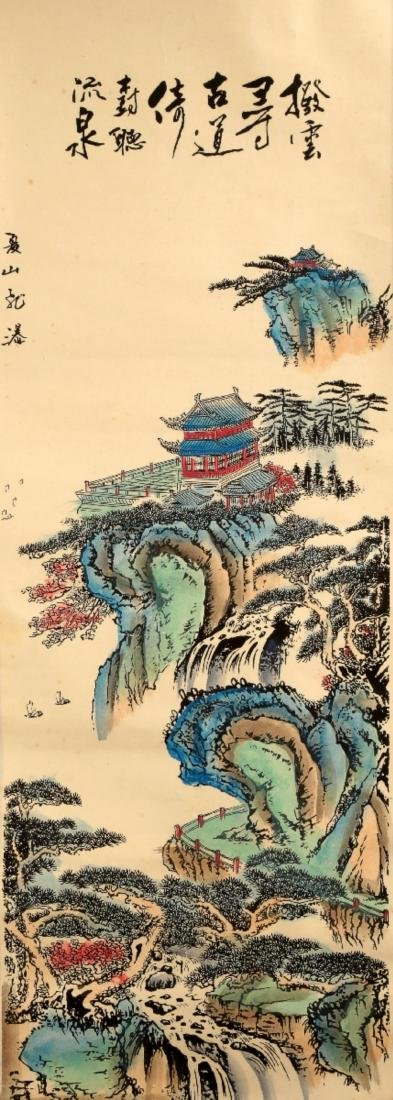 CHINESE INK AND COLOR ON PAPER HANGING SCROLL PAINTING. - 2