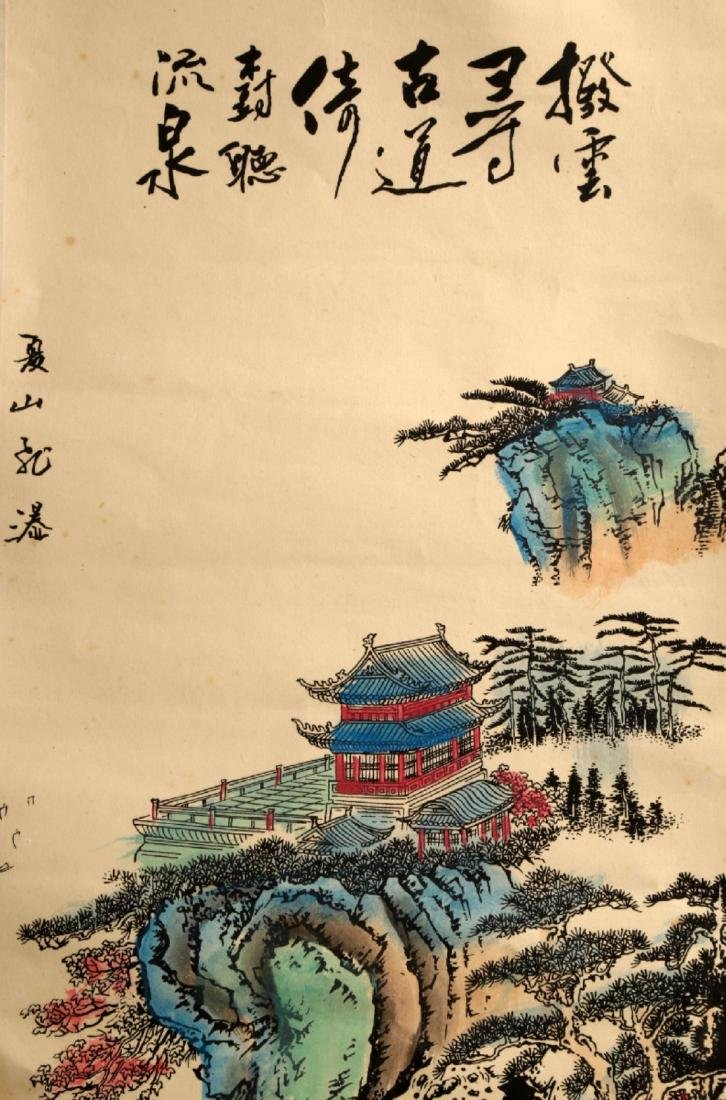 CHINESE INK AND COLOR ON PAPER HANGING SCROLL PAINTING. - 3