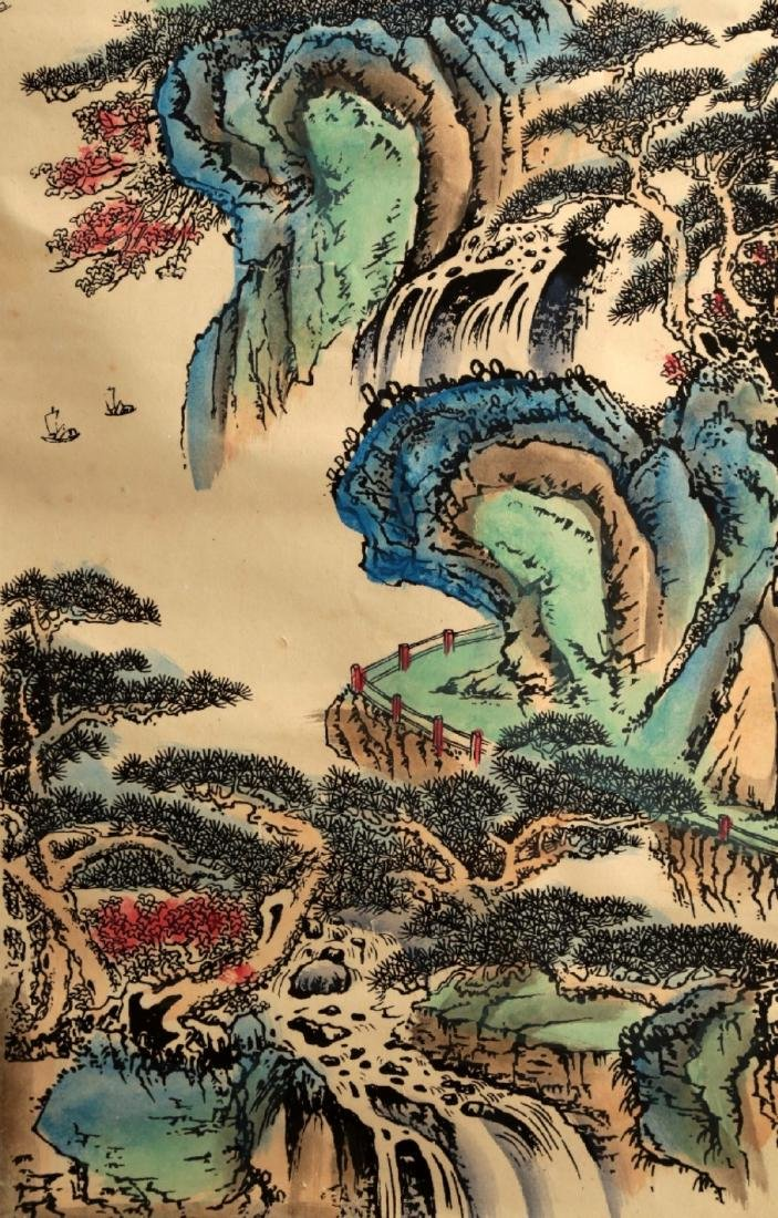 CHINESE INK AND COLOR ON PAPER HANGING SCROLL PAINTING. - 4