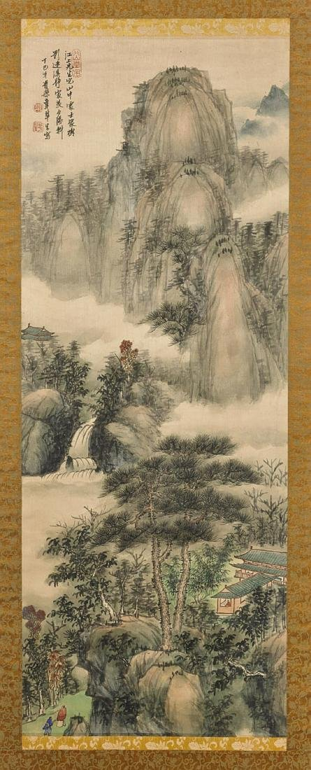 CHINESE INK & COLOR ON SILK PAINTING