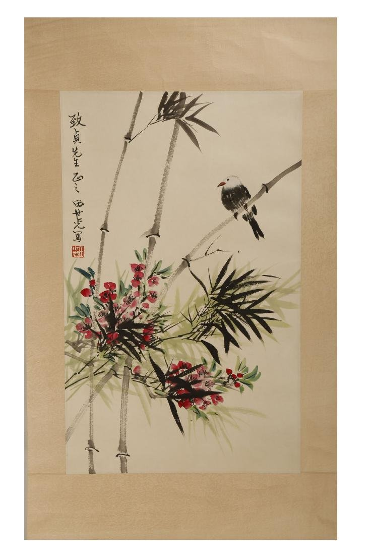 SIGNED TIAN SHIGUANG (1916-1999).A INK AND COLOR ON