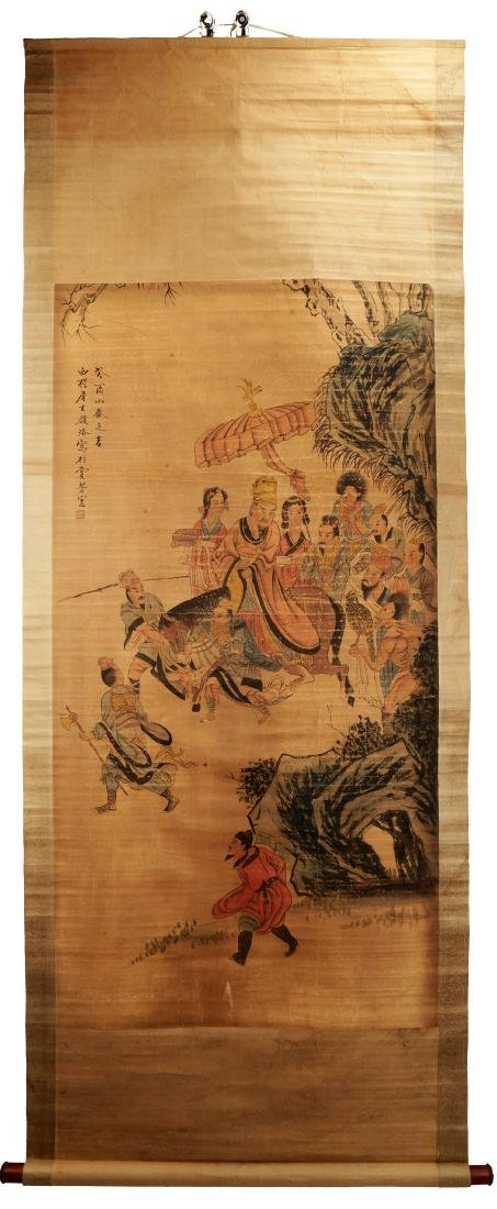ATTRIBUTED AND SIGNED GU LUO (1763-1837). A INK AND COL