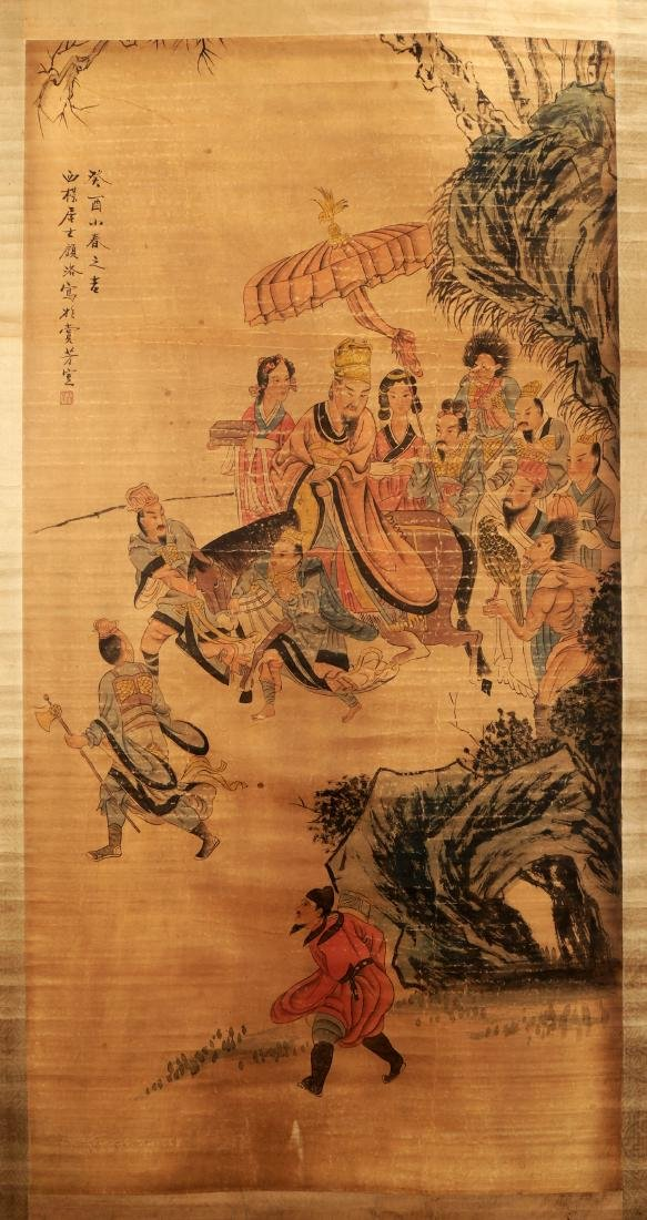 ATTRIBUTED AND SIGNED GU LUO (1763-1837). A INK AND COL - 2