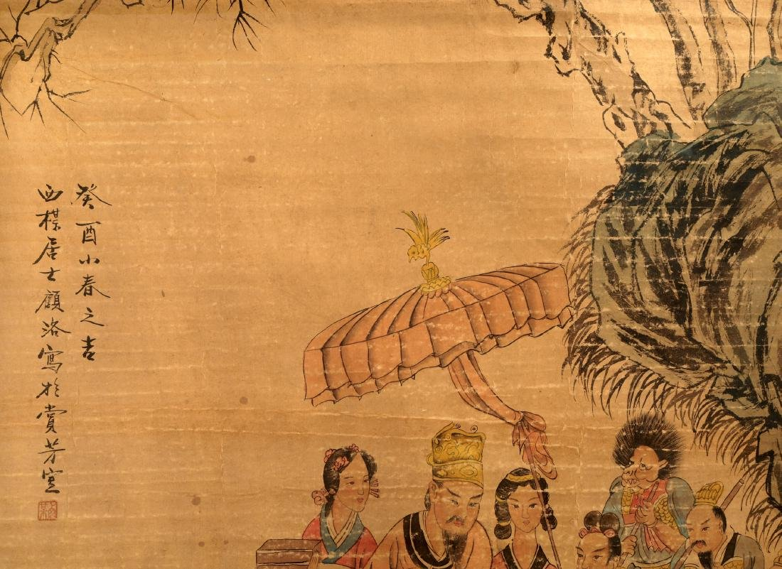 ATTRIBUTED AND SIGNED GU LUO (1763-1837). A INK AND COL - 3