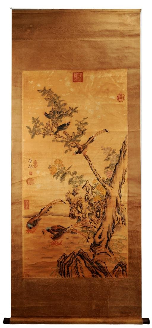 ATTRIBUTED AND SIGNED LU JI (1477-?). A INK AND COLOR