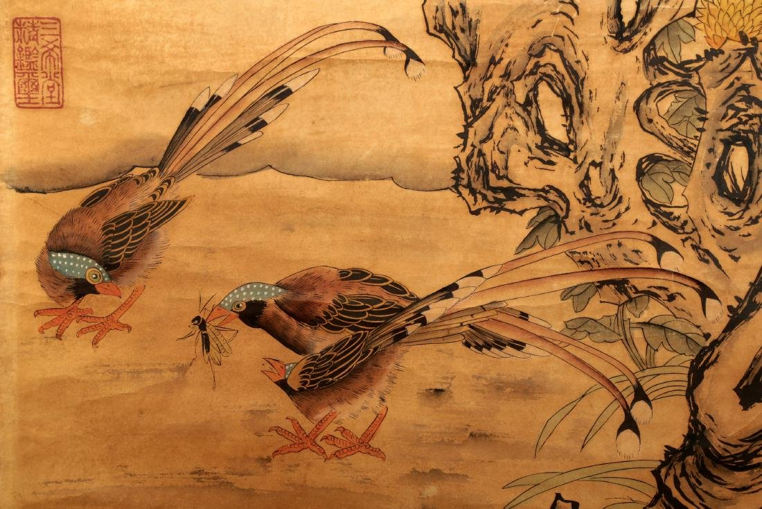 ATTRIBUTED AND SIGNED LU JI (1477-?). A INK AND COLOR - 4
