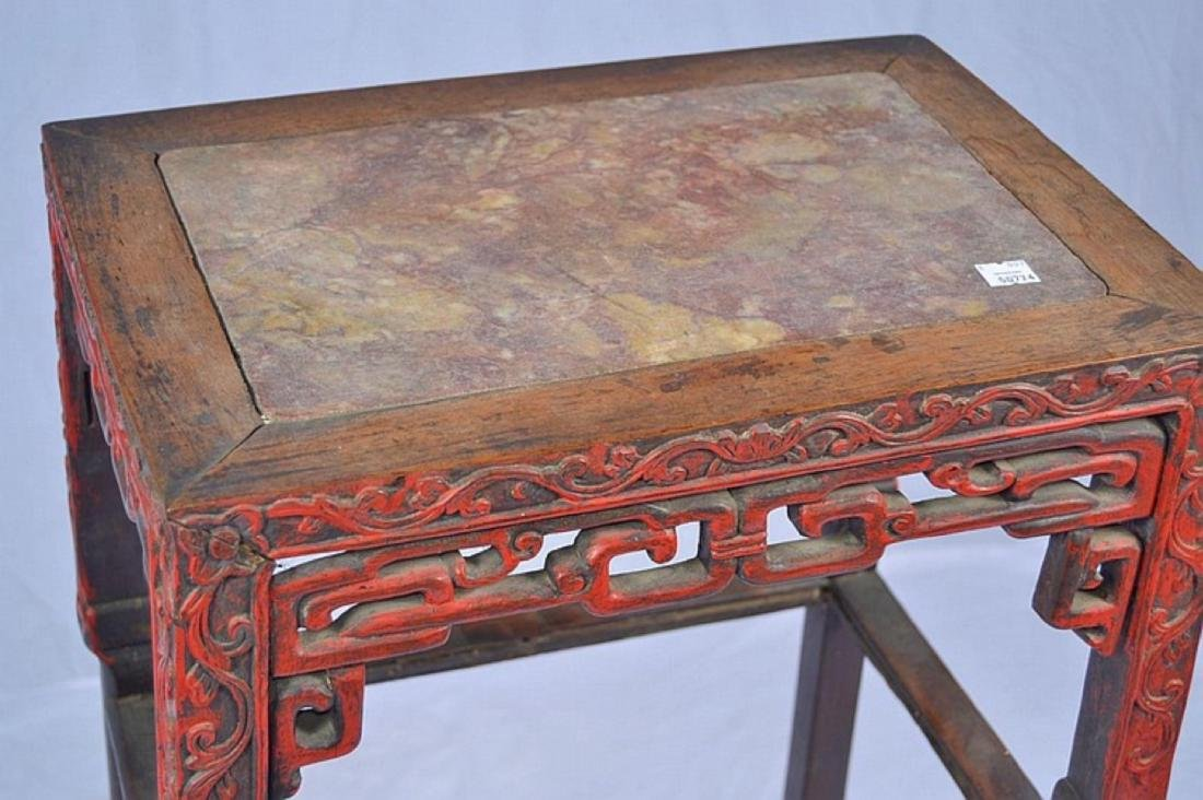 CHINESE CARVED MARBLE TOP SIDE TABLE - 2