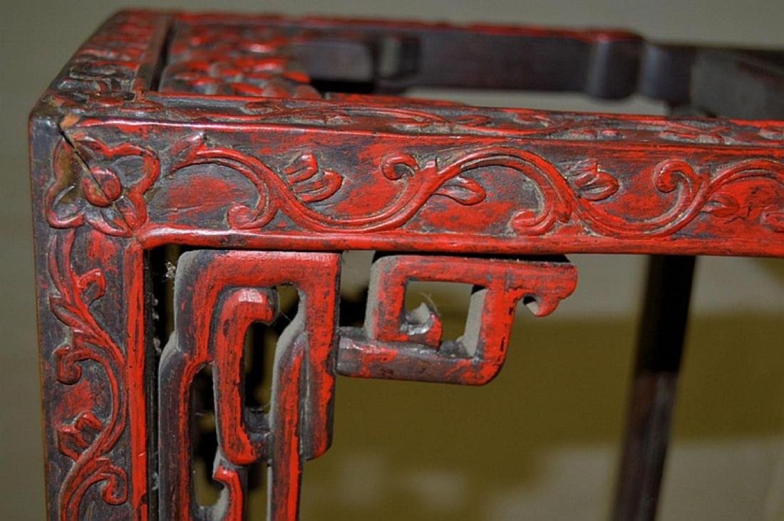 CHINESE CARVED MARBLE TOP SIDE TABLE - 4