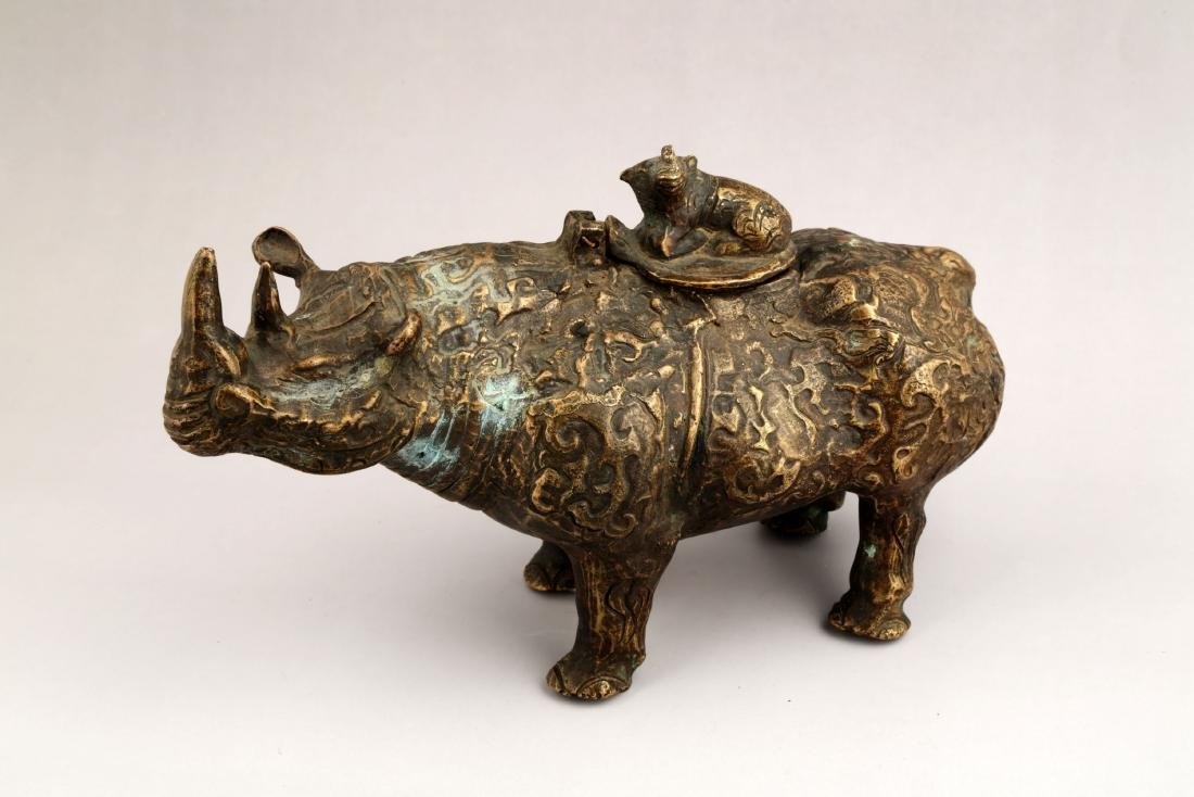 A CHINESE BRONZE BULL SCULPTURE AROMA STOVES. - 2