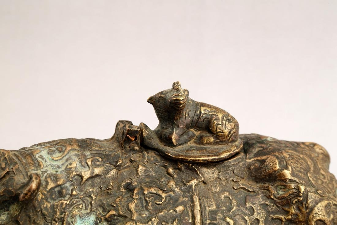 A CHINESE BRONZE BULL SCULPTURE AROMA STOVES. - 4