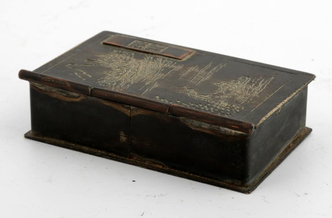 A SQUARE COPPER INK BOX AND COVER.