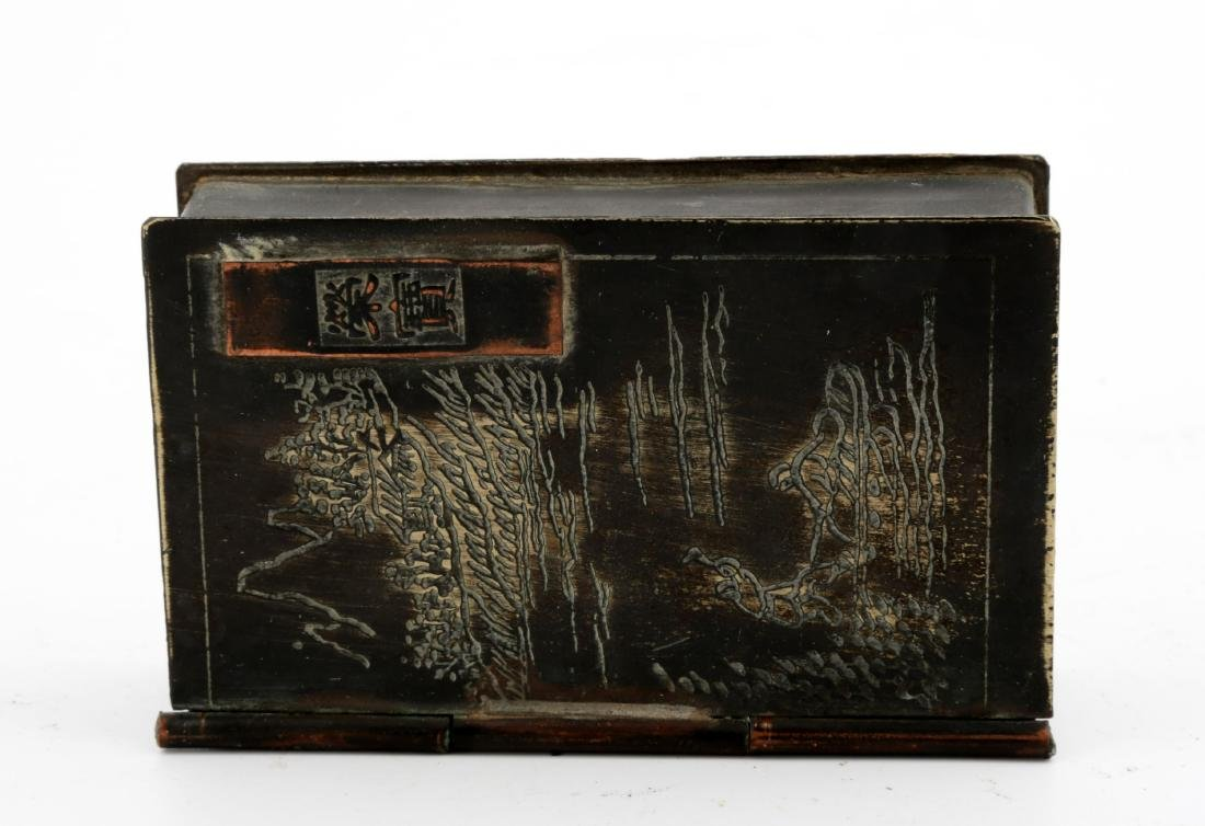 A SQUARE COPPER INK BOX AND COVER. - 3