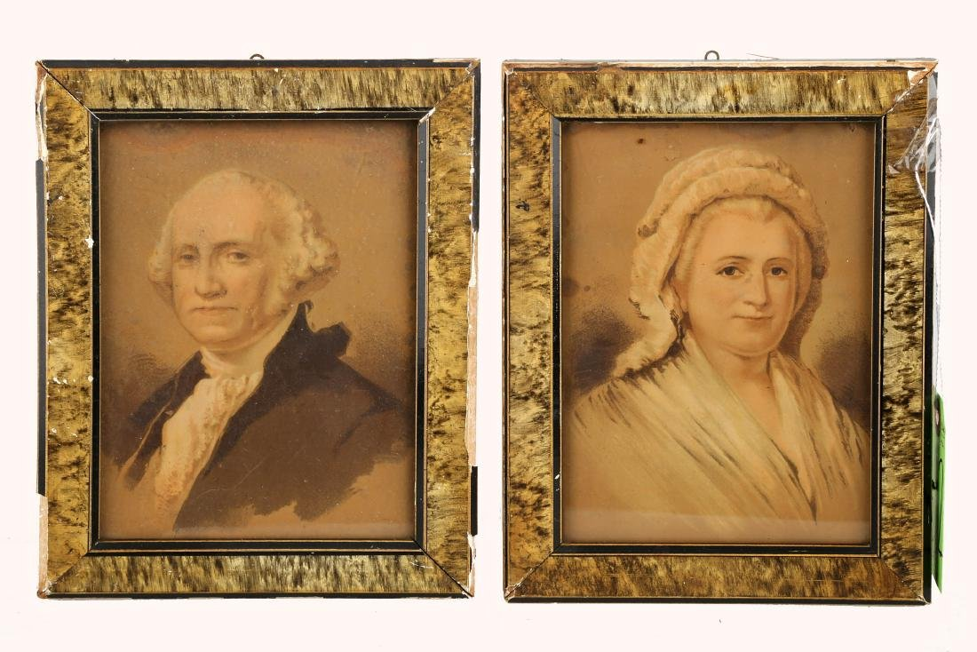 (2)  TWO HAND-COLORED LITHOGRAPHS OF GEORGE AND MARTHA