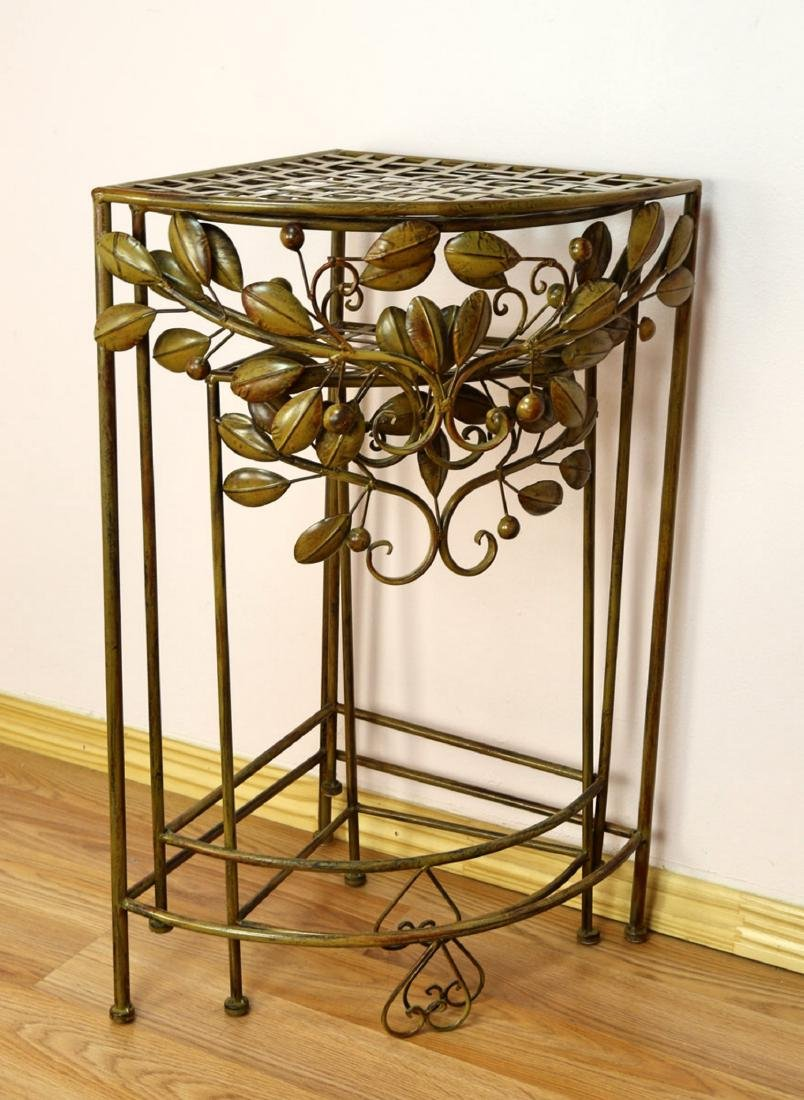 (3) A SET OF THREE ART DECO WROUGHT IRON PLANT STANDS . - 2