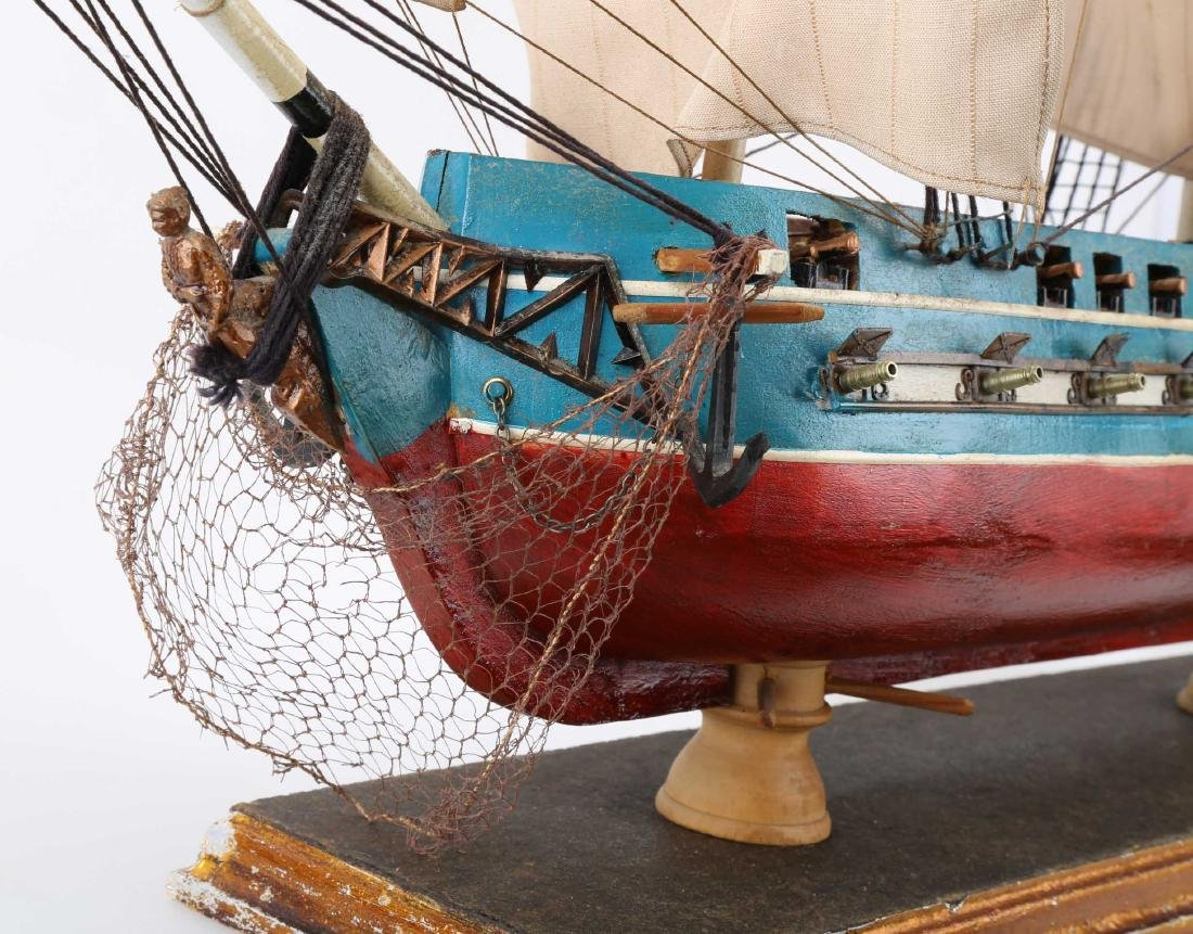 A WOODEN SHIP MODEL USS CONSTITUTION, FULLY - 4