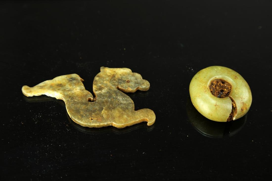 (2)  TWO PIECES OF CHINESE ANCIENT ANCIENT CARVED JADE