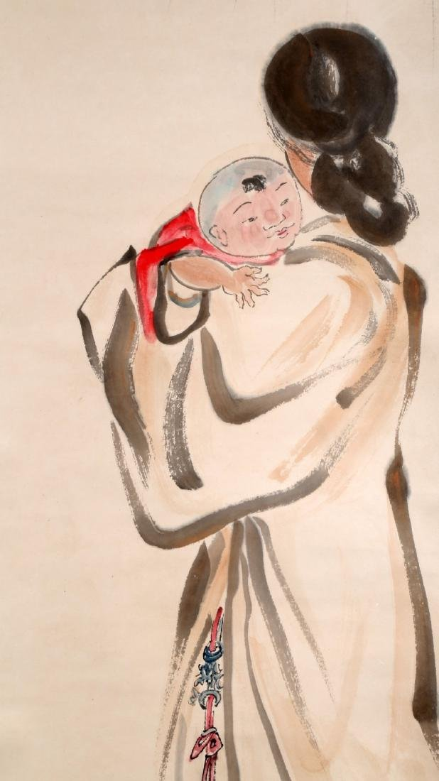 A CHINESE INK AND COLOR ON PAPER SCROLL H244 - 3