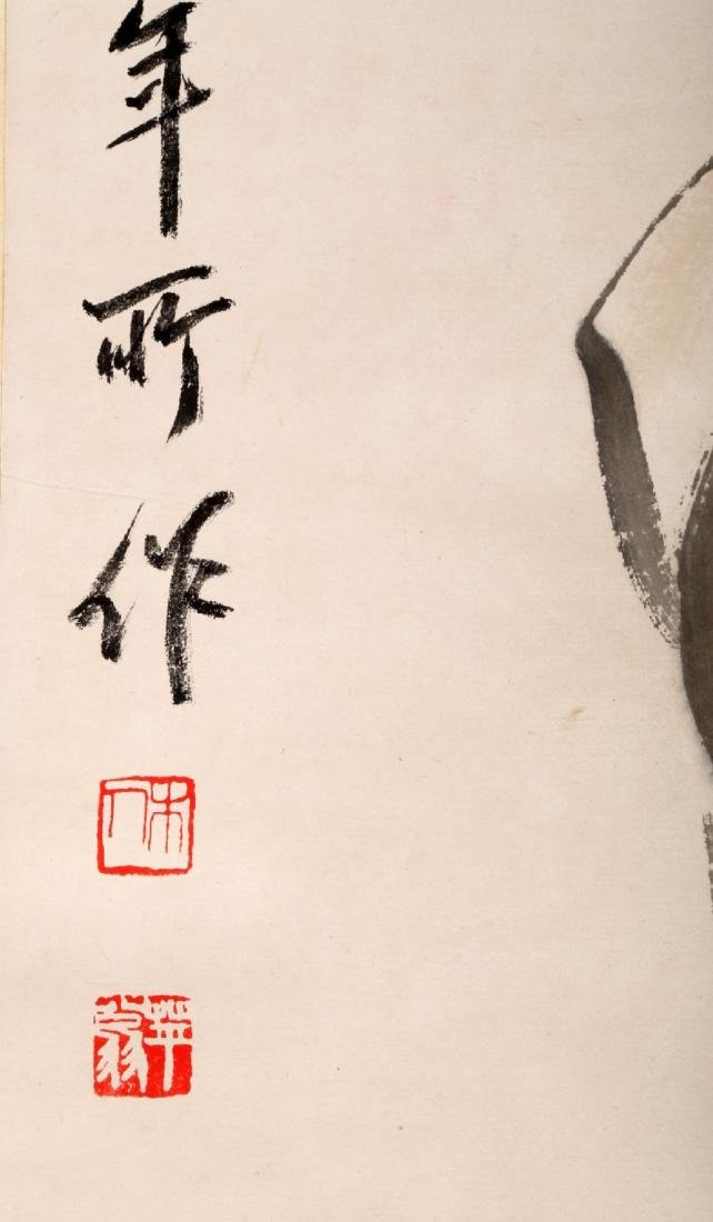 A CHINESE INK AND COLOR ON PAPER SCROLL H244 - 5