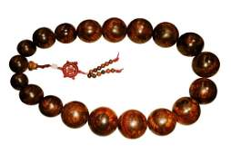 A RARE LARGE HUANGHUALI ORPHANED PRAYER BEADS