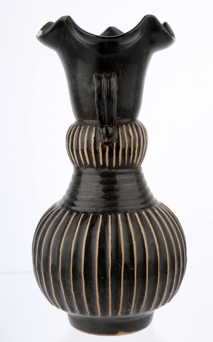 CHINESE BLACK GLAZE PORCELAIN JAR WITH MELON RIDGES - 2