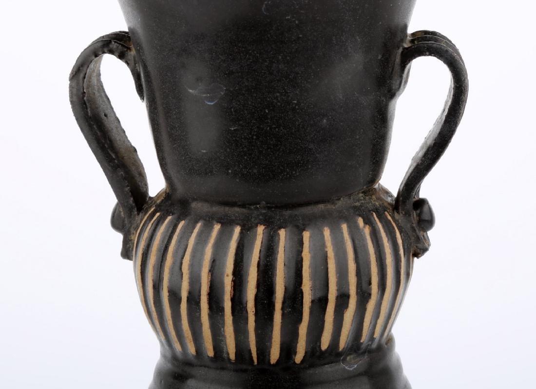 CHINESE BLACK GLAZE PORCELAIN JAR WITH MELON RIDGES - 4