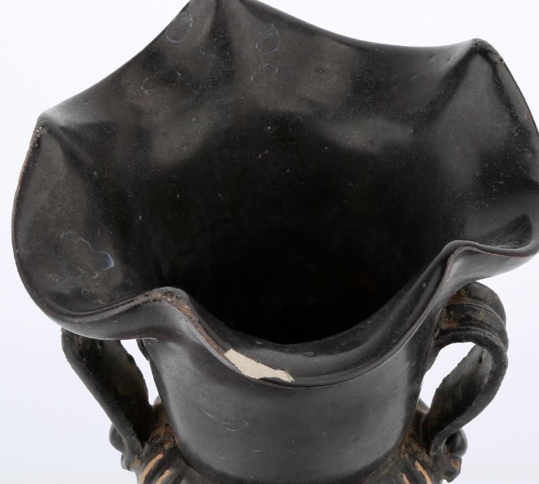 CHINESE BLACK GLAZE PORCELAIN JAR WITH MELON RIDGES - 5