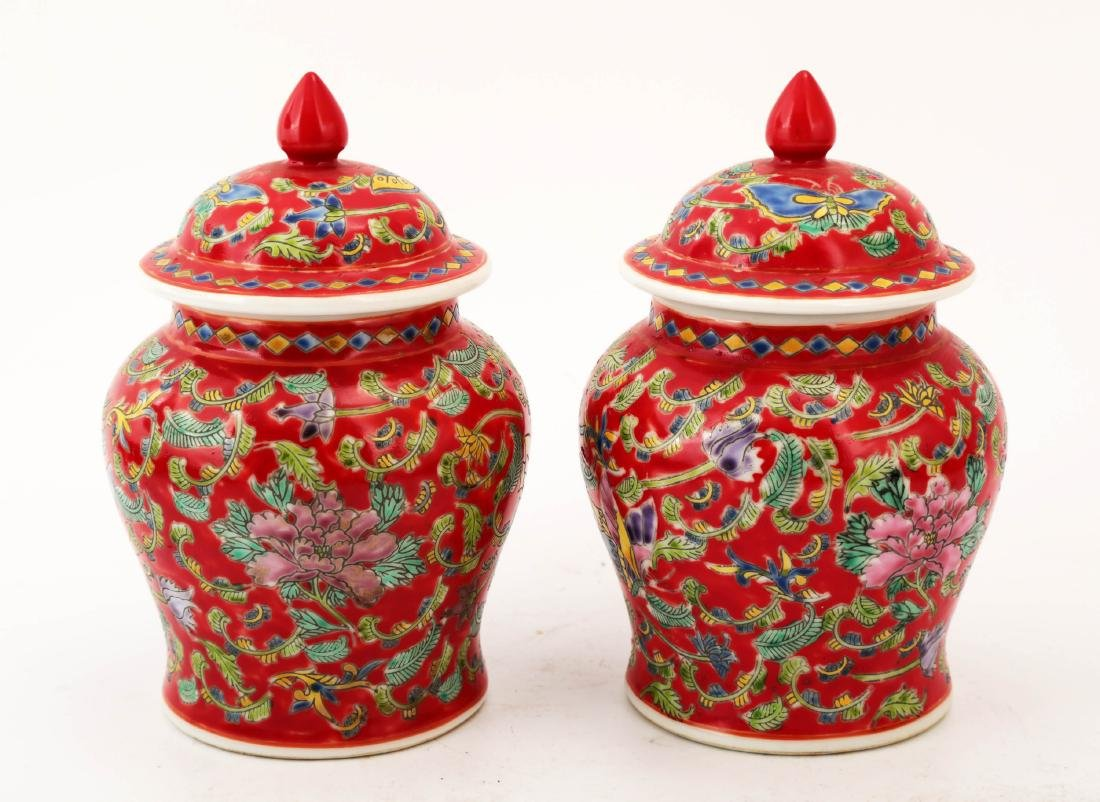 (2)   A PAIR OF SMALL FAMILLE ROSE RED-GLAZED JAR AND