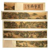 HANDSCROLL SIGNED YUAN YAOJIN.A INK AND COLORS ON GILT
