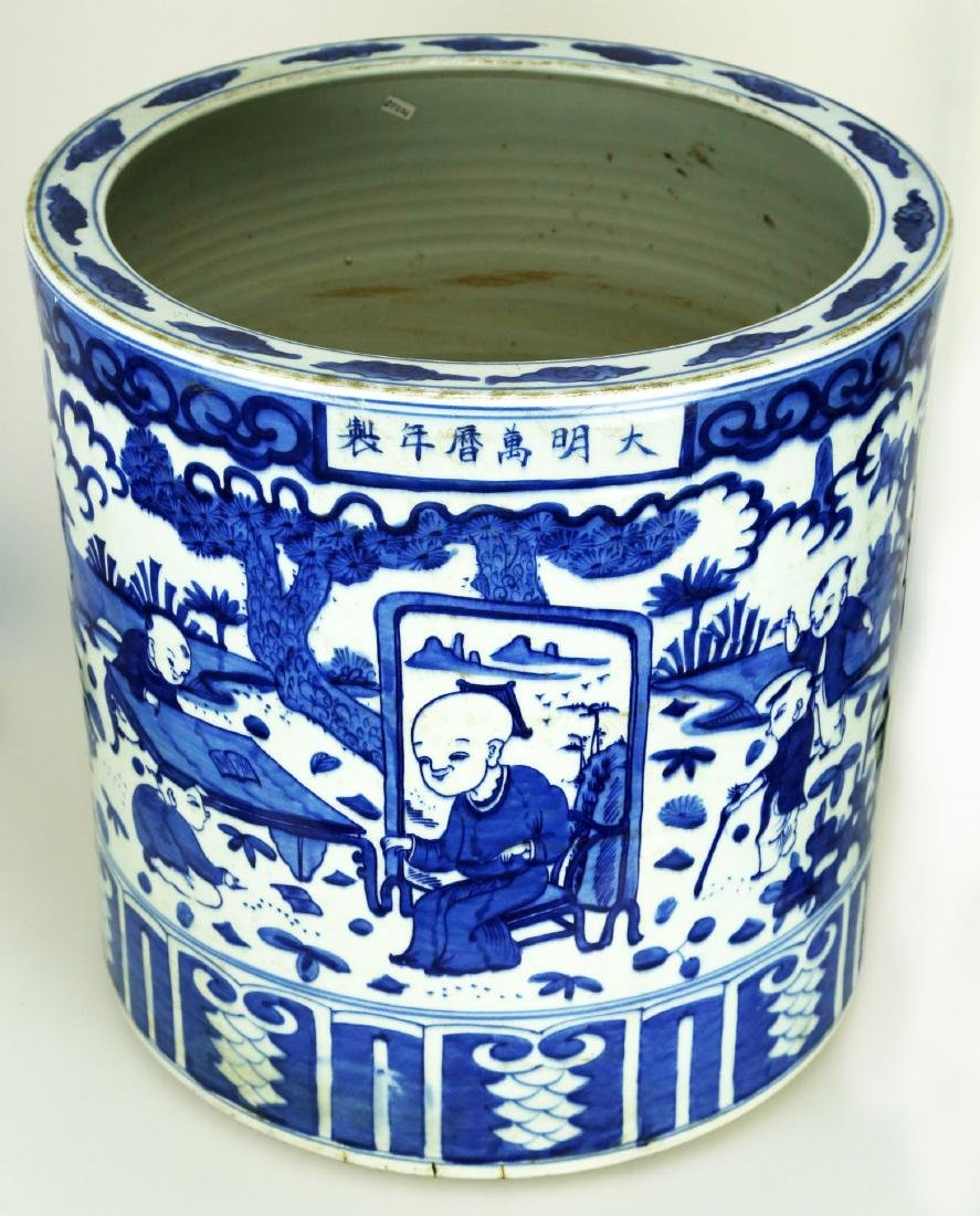 A LARGE BLUE & WHITE MING FIGURE SCROLL POT.C413.