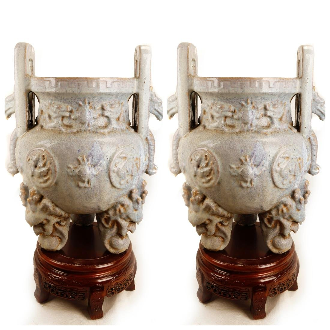 (2)   A PAIR OF MING DYNASTY STYLE JUNYAO CELADON SKY-