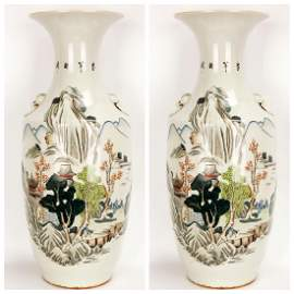 (2)  A PAIR OF FAMILLE ROSE PORCELAIN VASES WITH TWO