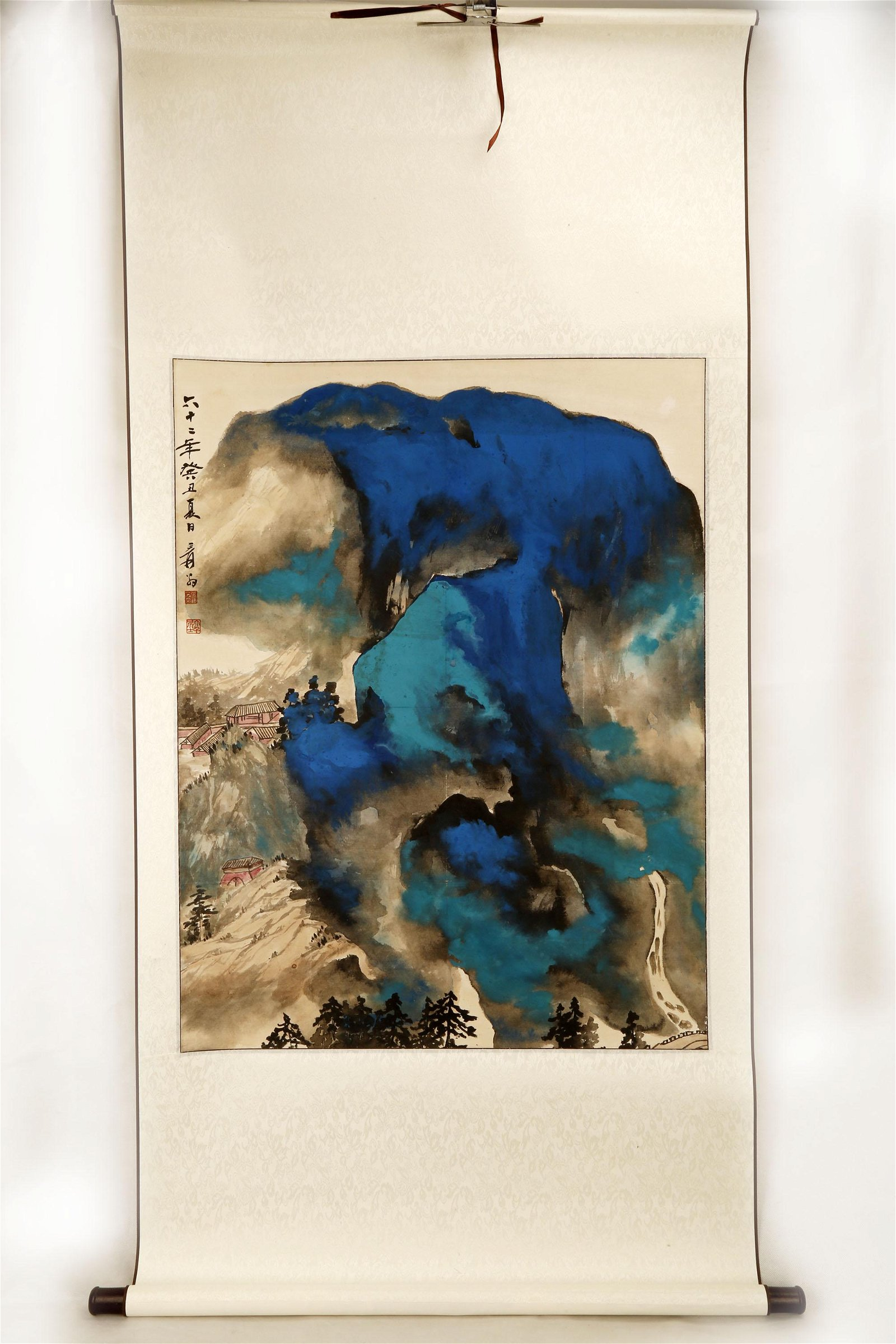SIGNED ZHANG DAQIAN(1899-1983).A INK AND COLOR ON PAPER