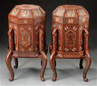 (2)  A PAIR OF OCTAGONAL LONGEVITY BOXES ON