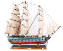 A WOODEN SHIP MODEL USS CONSTITUTION, FULLY
