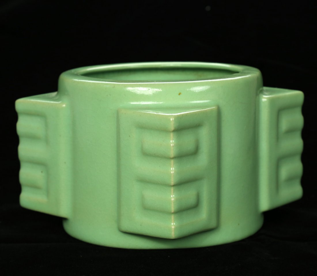 A RARE CHINESE SONG DYNASTY SKY- CYAN CONG CERAMIC