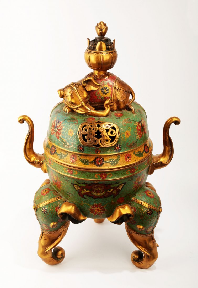 A SPECTACULAR CHINESE CLOISONNE ENAMEL INCENSE
