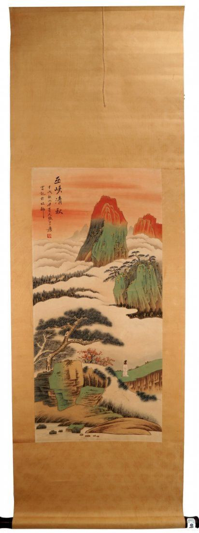 SIGNED ZHANG DAQIAN (1899-1983). A INK AND COLOR ON
