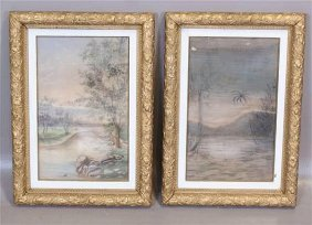 (2) Pair (early 20th Century) Pastels, Landscapes With