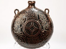 A Garnet-glaze Coin Pattern Design Porcelain Wine Pot