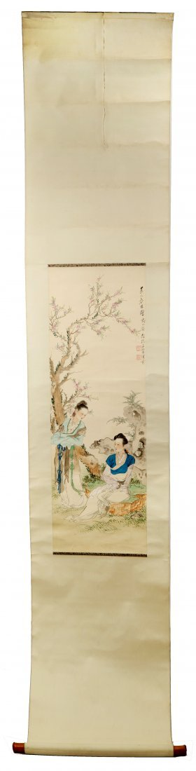 SIGNED XU CAO(1899-1961). A INK AND COLOR ON PAPER