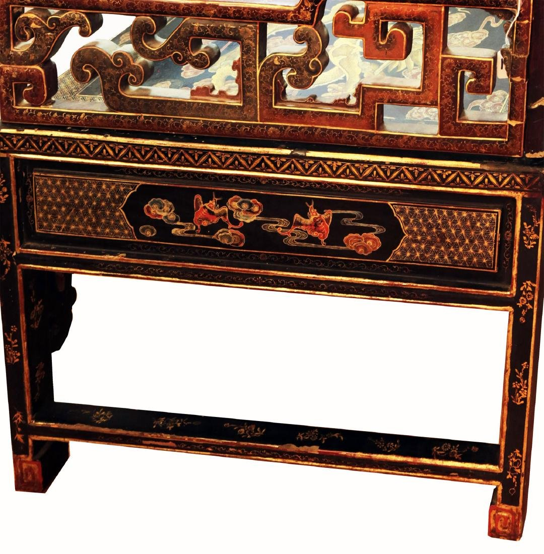 CHINESE SHAPED GILT DECORATION LACQUER THREE-RAILING - 3